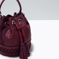 Woven leather dolly bag