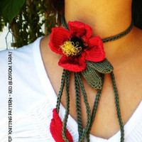 PDF Instructional Knitting Pattern - Knit Flower Necklace - Red Blossom Lariat