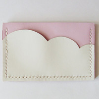 Business Card Holder - Leather Card Holder with Pastel Pink Sky and White Cloud - Handmade and Hand Stitched - Free Monogram