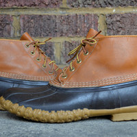 Vintage LL Bean Maine Duck Hunting Leather Bean Boots, 10 men's