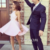 Simple pink short prom dress, cute homecoming dress - 24prom