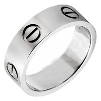 OMFEE Stainless Steel Designer Screw Head Love Wedding Ring Silver Finish,Sizes 5 - 10