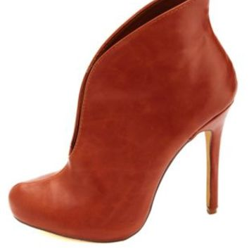 Curved Slit High Heel Booties by Charlotte Russe