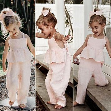 Kids Baby Girls Clothes set Sleeveless Backless Romper T shirt  Overalls Jumpsuit Wide Leg Pants Trousers Outfits