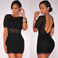 Black Crochet Lace Backless Bodycon Mini Dress