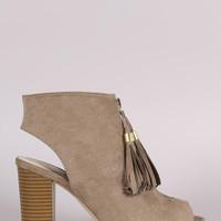 Qupid Tassel Front Zip-Up Chunky Heeled Mule Booties