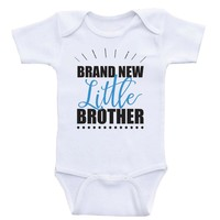 """Baby Brother Shirts """"Brand New Little Brother"""" Baby Boy One Piece Shirt"""