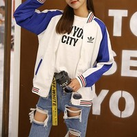"""Adidas"" Women Sport Casual Multicolor Stripe Zip Cardigan Long Sleeve Baseball Clothes Coat"