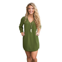 Emerald Green V-Neck Mini Dress