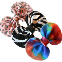 Baby girl felt hair bows - little lady fashion clips - toddler clippies - zebra bow - diva leopard pink clip - tie dye girls accessories -