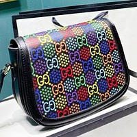 GUCCI New fashion multicolor more letter star print leather shoulder bag crossbody bag Black