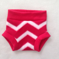 Diaper Cover --- Red and White Chevron Striped Fleece