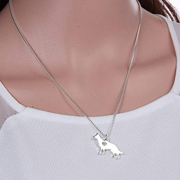 handmade animal pendant necklace zinc alloy silver dog necklace for women