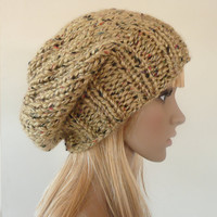 Slouch Hat Hand Knit Beanie in Golden Tan with Multicolor Flecks Slouchy Beret Unisex Mens Womens Teens