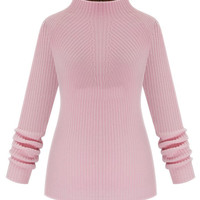 Pink High Neck Cable Knit Jumper