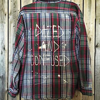 """Soft Plaid flannel """"Dazed and Confused"""" hand bleached shirt // soft grunge"""