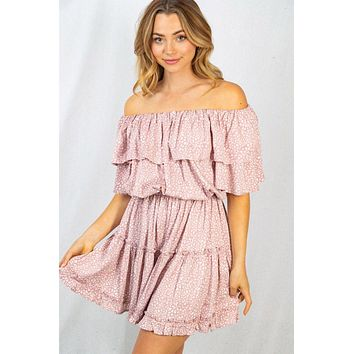 Once In A Wild Dusty Pink Cheetah Print Off The Shoulder Dress