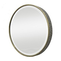 Three Hands Vintage Round Metal Mirror with Gold Accents - 24-1/2-in