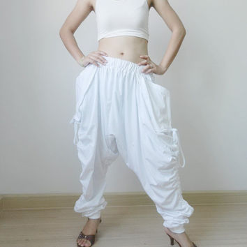 New Design Extra Long Ninja Pants Harem Unisex Pant..White Cotton Jersey.