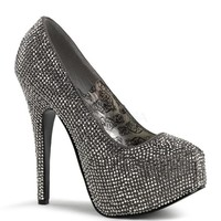 Bordello Grey Iridescent Rhinestone Platform Pump