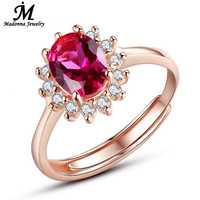 Fashion Women Red Ruby Gem Rose Gold Plated Engagement Wedding Rings Design silver Open Adjusted Ring For Women Crystal Jewelry