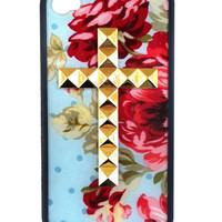 Blue Floral Gold Cross iPhone 4/4s Case
