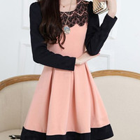 Lace Panel Long Sleeve Pleated Dress