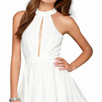 White Halter Open Front and Back Dress