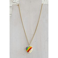 CNJ Vintage Rainbow Heart Necklace