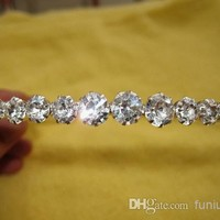 Best Selling 2014 Sparking One Row Rhinestone Clear Crystal Tiara Headband for Wedding Party Hair Accessories Bridal Jewelry Free Shipping