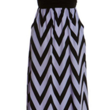 Enchanted Evening Maxi Strapless Dress - Lilac and Black
