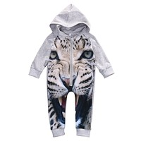 Winter born Romper Infant Kids leopard Long Sleeve Romper Baby Boys Girls Outfits Cotton Hooded Jumpsuit Clothes