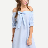 Blue Off The Shoulder Striped Bow Shift Dress -SheIn(Sheinside)