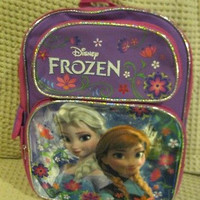 "Walt Disney Frozen Anna and Elsa 16"" Purple/Pink Backpack-Brand New with Tags!1"