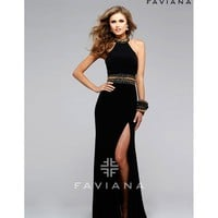 Preorder - Faviana 7704 Black Halter Embellished Sexy Long Dress 2016 Prom Dresses