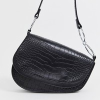 Skinnydip Ride black mock croc shoulder bag at asos.com