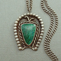 """OLD PAWN Vintage Native American Navajo Necklace Fred Harvey Era PENDANT Handmade, Chrysocolla Gemstone, 22"""" Sterling Silver Chain c.1930s"""