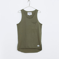 Basic Raw-Cut Elongated Tank Top in Olive Army