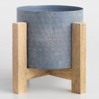 Galvanized Iron Planter with Wood Stand
