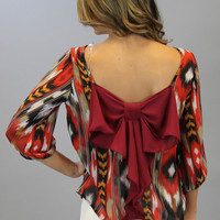 Bow Back Blouse - Fall Ikat