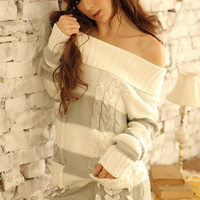 Lovely Turndown Collar Striped Grey Knitting Sweater With Ribbon Details = 1920279748