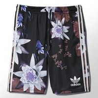 ADIDAS Woman water lotus flower print sports casual shorts pants
