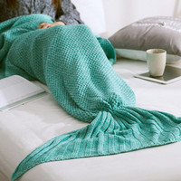 Knitted Sofa Bedding Mermaid Blanket with Tail for Womens Warm + Christmas Gift
