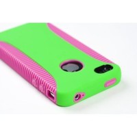 Body Armor Case for Apple iPhone 4, 4S (AT&T, Verizon, Sprint) - Lime Green/Hot Pink - Includes 24/7 Cases Microfiber Cleaning Cloth [Retail Packaging by DandyCase]