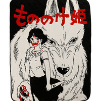 Studio Ghibli Princess Mononoke San & Moro Throw Blanket