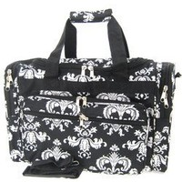 Black White Damask Floral Print Duffle Dance Cheer Gym Bag 19""