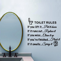 Toilet Rules Bathroom Removable Wall Sticker Vinyl Art Decals DIY Home Decor