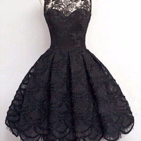 Black Floral Lace Sleeveless Pleated Dress