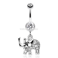 Elephant Walk Dangle Belly Button Ring (Clear)