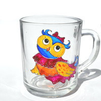 "Hand Painted Mug - owl ""pin up girl"" - Unique Artistic Gift - Dinner - Parties- cup"